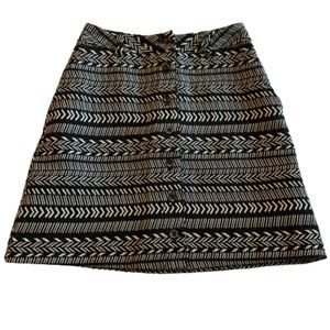 ANTHRO Maeve black and white Aztec skirt, size 0